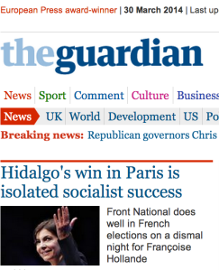 "Guardian headline mentioning ""Françoise Hollande"""