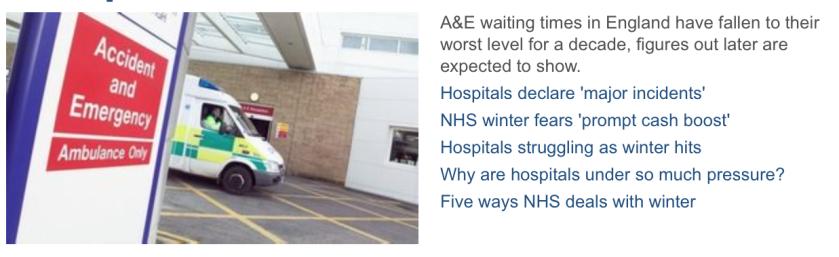 BBC website A&E morning